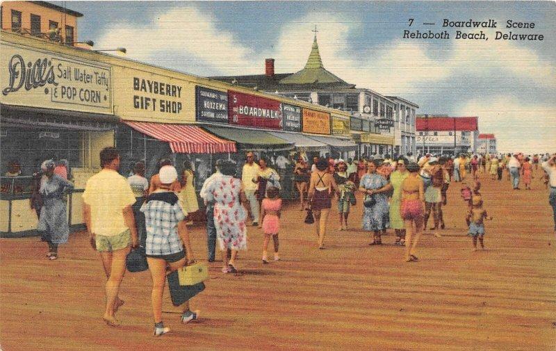 H76/ Rehobeth Beach Delaware Postcard Linen Boardwalk Dills Taffy Bayberry 112