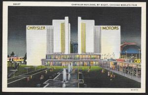 Chicago Worlds Fair 1933-1934 Chrysler Building @ Nite Chicago Unused c1933