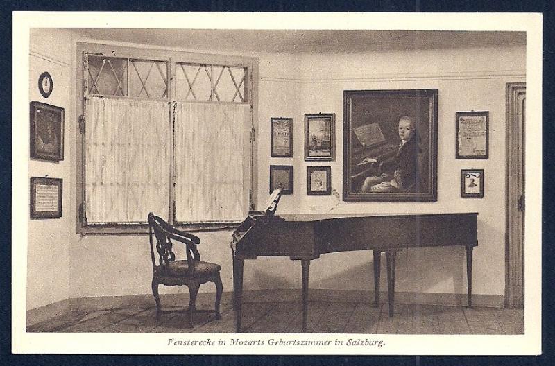 Window Corner Mozart's Room w/Piano Austria unused c1920's