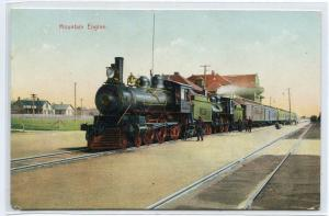 Mountain Engine Railroad Train Depot Unknown Location 1907c postcard