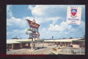 TULSA OKLAHOMA FRONTIER MOTEL 1960's CARS OLD ADVERTISING POSTCARD