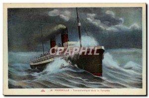Old Postcard Marseille Transattantique in Storm Boat