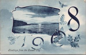 Greetings from the Sunset City Victoria BC Canada New Year 1908 Postcard E32
