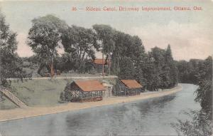 Ottawa Ontario Canada~Rideau Canal~Driveway Improvement~Waiting Station~1908 PC