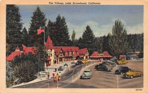 The Village, Lake Arrowhead, California, Early Postcard, used in 1938