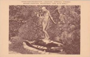 Virginia Norfolk Hermitage Foundation Lochaven Bronze Fountain Mccartens Girl...