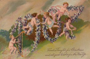 NEW YEAR, 1907 in flowers with cherubs, PFB 6415