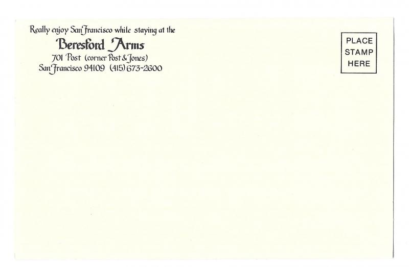 San Francisco Beresford Arms Hotel B Wilson A/S Postcard