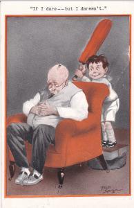 Fred Spurgin: Boy w/ Crikett bat ready to smash bug on bald head , PU-1913