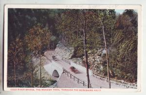 P1160 1914 postcard old cars cold river bridge mohawk trail berkshire hills