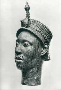 Brass head probably representing an early Oni of Ife Nigeria Yorubaland postcard