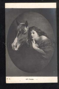 040906 FAIRY Nymph LONG HAIR & HORSE Vintage PHOTO PC