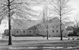 Beatrice Nebraska~Trees All Blossoming In Front of Presbyterian Church~RPPC 1950