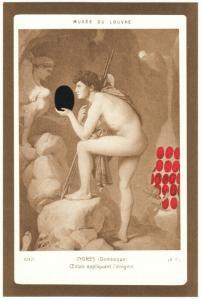 Oedipus Explaining the Enigma by Manuel Casimiro 1978 Sphinx Art Postcard