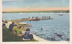 SKANEATELES LAKE, New York, PU-1910-30s ; Sailboats Lining Up, Sailboat Regat...