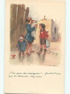 foreign Old Postcard signed FRENCH KIDS WALKING ALONG THE STREET AC3105