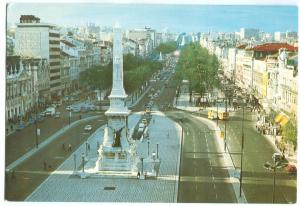 Portugal, Lisbon, Lisboa, Restauradores and Liberty Avenue, unused Postcard
