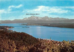 Blick vom Haldenhof ueber die gesamte Bodensee Insel Mainau Saentis