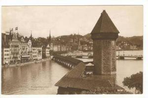 RP  LUZERN, Switzerland - Kappelbrucke mit Wasserturn (Covered Bridge), Switz...