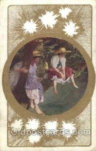 Fishing Woman in Sports 1909 internal creases, a lot of corner wear, postal u...