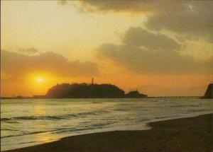 Enoshima Island Japan setting sun