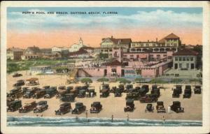 Daytona Beach FL Pepp's Pool & Beach - Cars on Beach c1920 Postcard