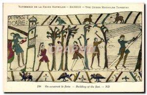 Postcard Old Bayeux Tapestry De La Reine Mathilde is constructed fleet