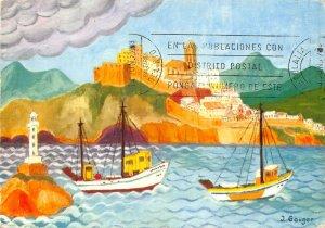 Spain Ingeborg Gauber Ibiza Naif Ville d'Ibiza Boats Lighthouse Postcard