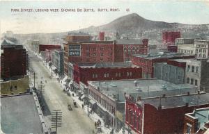Butte Montana~Downtown Shops~Stores~Park Street West~Bank~1910 Postcard