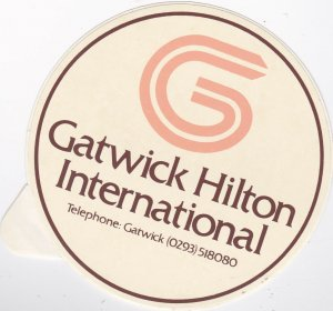 England London Gatwick Hilton International Hotel Vintage Luggage Label lbl0258
