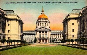 California San Francisco City Hall Flanked By Opera House & War Memorial Buil...