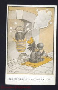 BLACK AMERICANA SIGNED F.G. LEWIN NEGRO CHILDREN TEAPOT 1921 VINTAGE POSTCARD