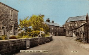 Vintage Postcard, Windy Street and Old School, Chipping, Lancashire 82X