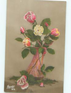 tinted rppc c1910 BEAUTIFUL FLOWERS AC9072