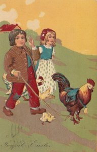 EASTER, PU-1908; Children walking rooster with rope, chicks & hen, PFB 5753
