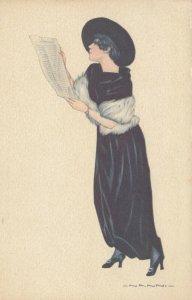 ART DECO ; NANNI ; Female Fashion Portrait #4 , 1910-20s , Newspaper