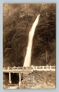 RPPC of Columbia River Highway OR, Horsetail Falls, Oregon Postcard