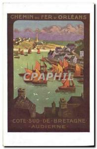 Postcard Old Train Railway d & # 39Orleans Road Racing Audierne