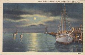 MOBILE, Alabama, 1930-1940's; Moonlight on Mobile Bay