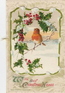 CHRISTMAS, 1900-10s; With Best Christmas Wishes, Holly, Booklet PC, AS; WINCH