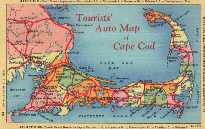 CAPE COD , Massachusetts , 1930-40s; Tourists' Auto Map of Cape Cod