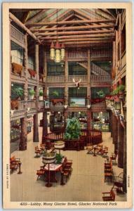 1940s GLACIER NATIONAL PARK Postcard Lobby, Many Glacier Hotel Curteich Linen