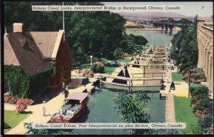 Ontario ~ OTTAWA Rideau Canal Locks Interprovincial Bridge in Background LINEN