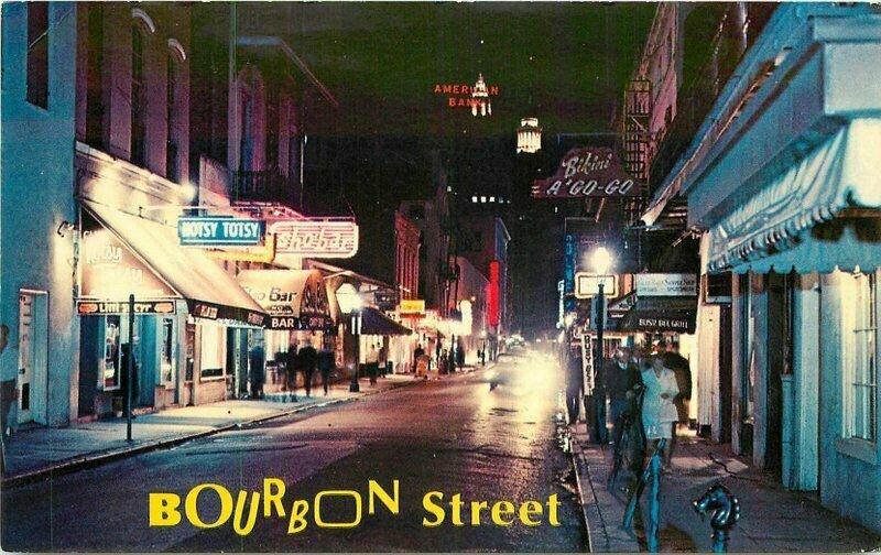 Bourbon Street New Orleans Louisiana Express 1960's Night Neon Postcard 20-1368