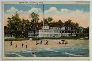 Vintage Old White Border Era Postcard Stamford, Connecticut Yacht Club Unused