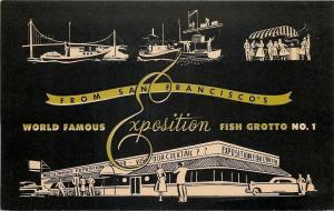 San Francisco~Exposition Fish Grotto Restaurant~Black White Silhouette~1940s PC
