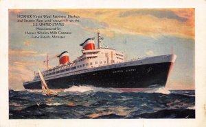 LP49  Ship S. S. United States Vintage Postcard Horner Woolen Mills Advertising