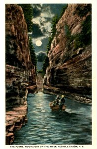 NY - Ausable Chasm. Flume, Moonlight on the River