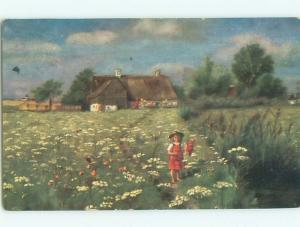 Pre-Linen GIRL PICKING WILDFLOWERS ON THE FARM AC4374