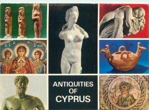 Postcard Cyprus multi view antiquities sculpture paint handmade art artistic